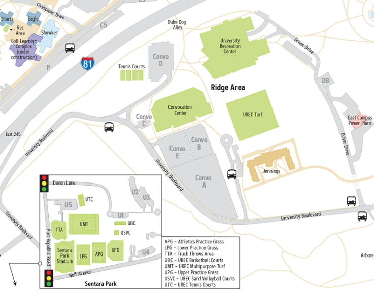 Campus Map: James Madison University: Ridge Area