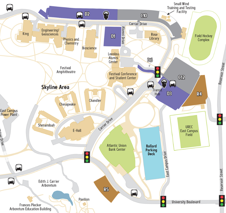Campus Map: James Madison University: Skyline Area
