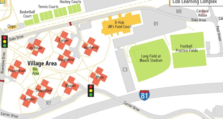 University Village Map James Madison University   Village Area
