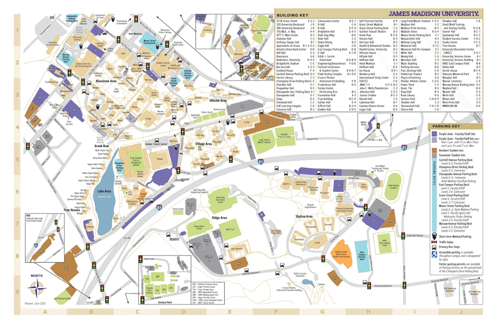 James Madison University Campus Map