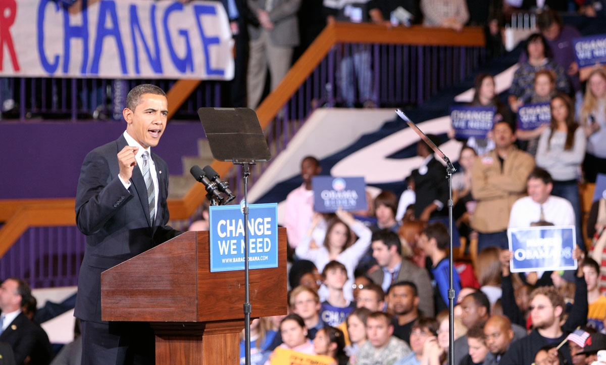 Then Sen. Barack Obama standing at a podium at the JMU Convocation Center during campaign stop in October 2008.