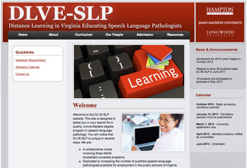 Screen Capture of the School Speech Pathologists Online Master's web page