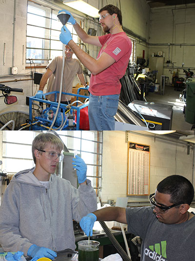 Two photos of students working in laboratory on alternative fuels research.