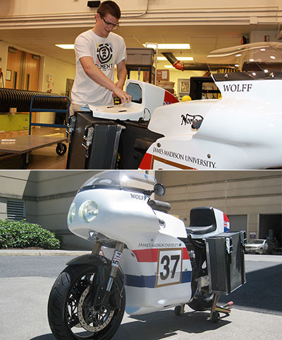 two photos stacked: top photo shows student working on the back end of the motorcycle; bottom photo shows the whole motorcycle parked outside.