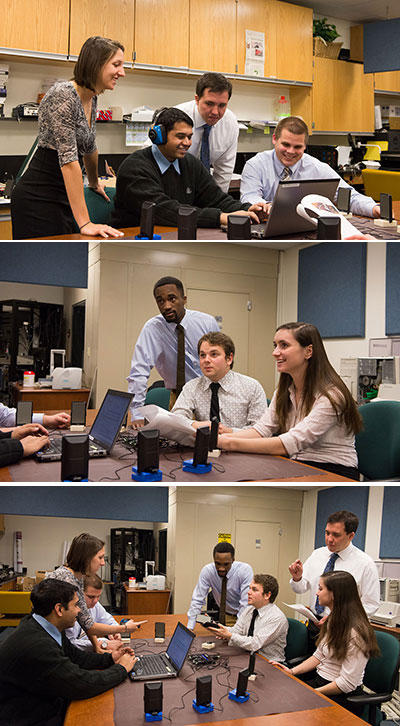 three photos stacked showing the students meeting about their project around a table on which the hearing test system is set up.