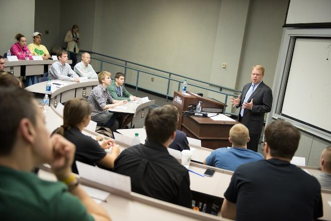 John HInshaw speaks with CIS students