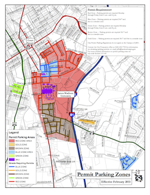 Harrisonburg city map with new parking zones.