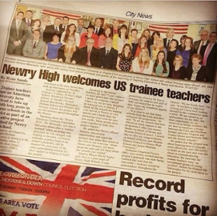 Newspaper article with group photo of JMU students in Newry, Northern Ireland