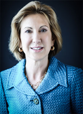 Portrait of Carly Fiorina with blue jacket