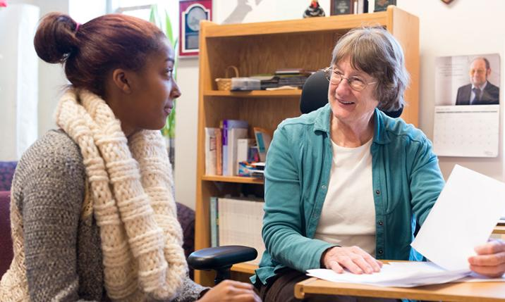 Joann Grayson and tutoring student
