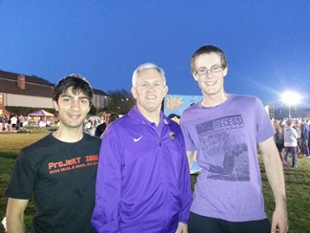JMU President Jonathan Alger stands between Joe Bannister (right) and another Relay For Life participant.