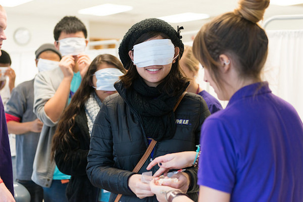 Valley Scholars blindfold