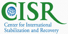 logo for center for international stabilization and recovery - green letters on white background and then the center's name spelled out in blue