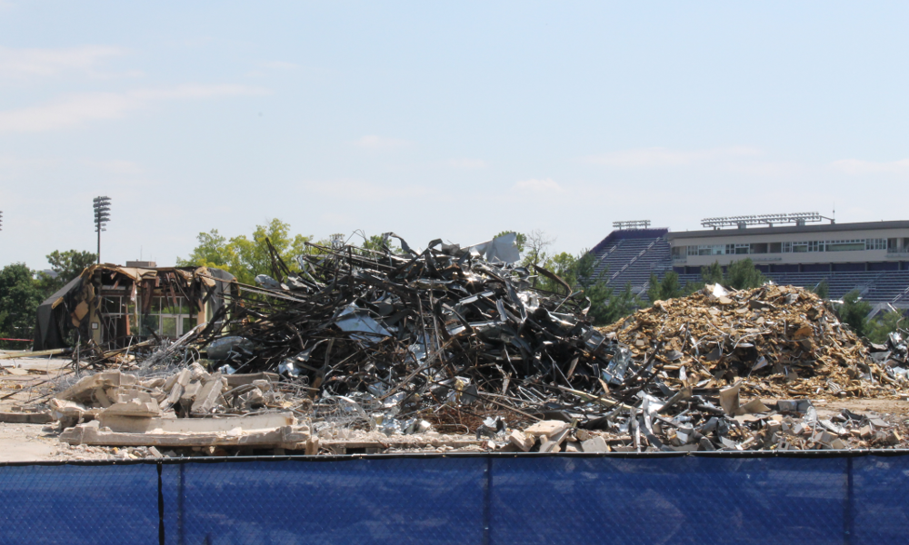 remnants of the original D-Hall piled up on the foundation
