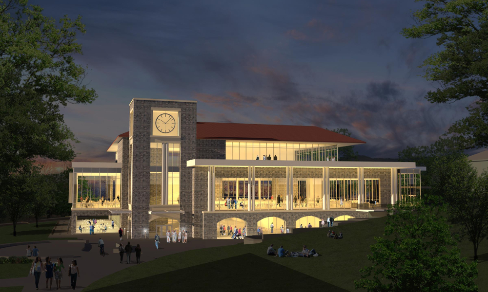 artist rendering of new dining hall at dusk.