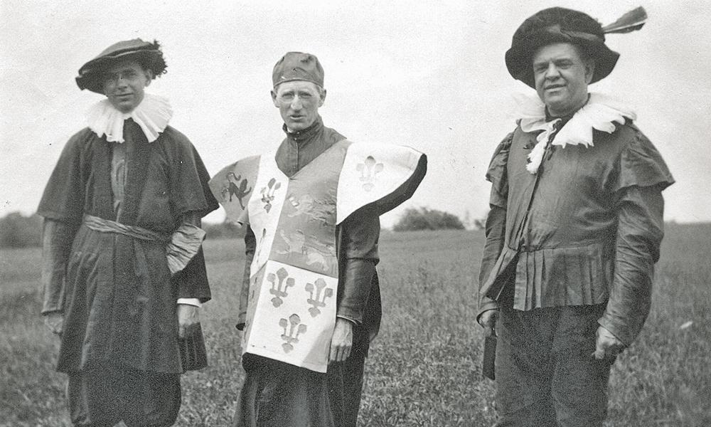 May 1916 photo of William Smithey, President Julian Burruss and Cornelius Heatwole dressed to march in the Shakespearian pageant on campus.