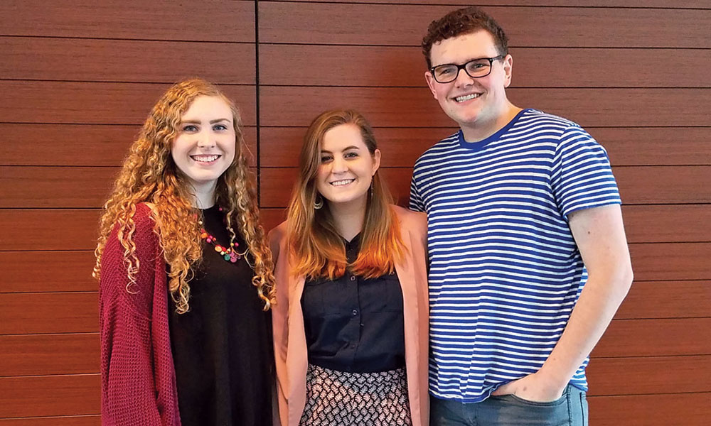 Klein and fellow JMU actors Sky Wilson (left) and Sierra Carlson each garnered No. 1 ratings during the 2017 Region II Kennedy Center American College Theatre Festival.