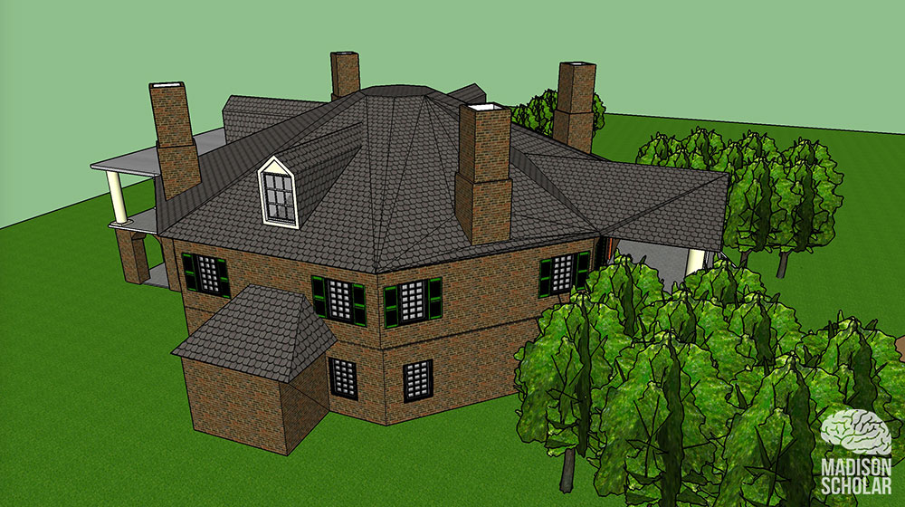 3D view of the back of the house