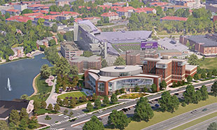 rendering of aerial view of new building and surroundings, including Interstate 81 and Bridgeforth Stadium