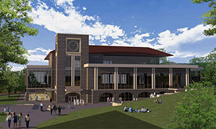 artist rendering of exterior of dining hall that will replace D-Hall