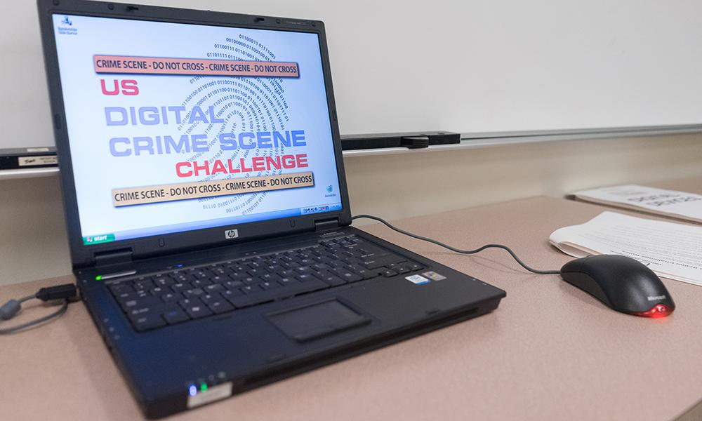 Photo of computer screen with US Digital Crime Scene Challenge logo