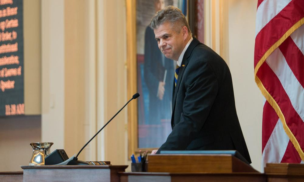 Kirk Cox at Speaker's desk in House of Delegates chambers
