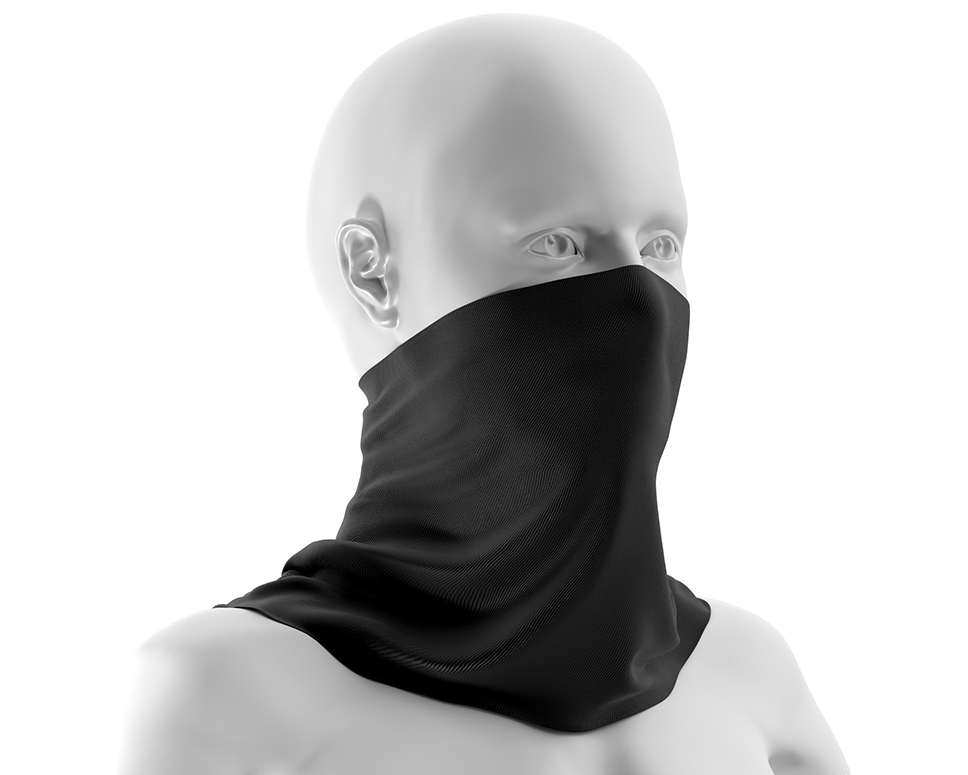 Profile of a white mannequin, head and shoulders, wearing a black gaiter around its neck and stretched over its mouth and nose.