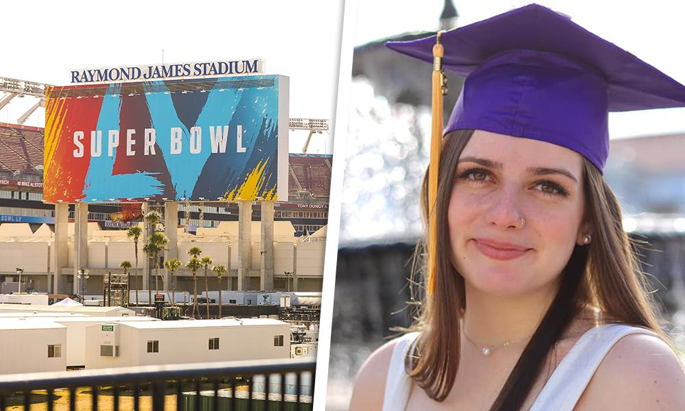 Recent Hart graduate Taylor Salyers was part of the digital media team Super Bowl LV.
