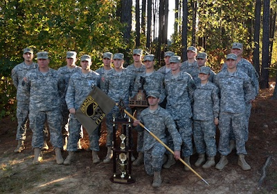 JMU ROTC Ranger Team with trophies from Ranger Challenge