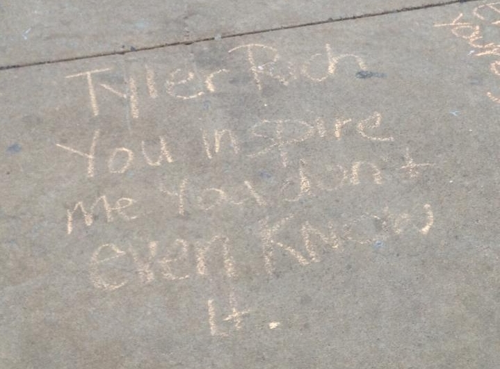 Quote written in chalk on the Commons,
