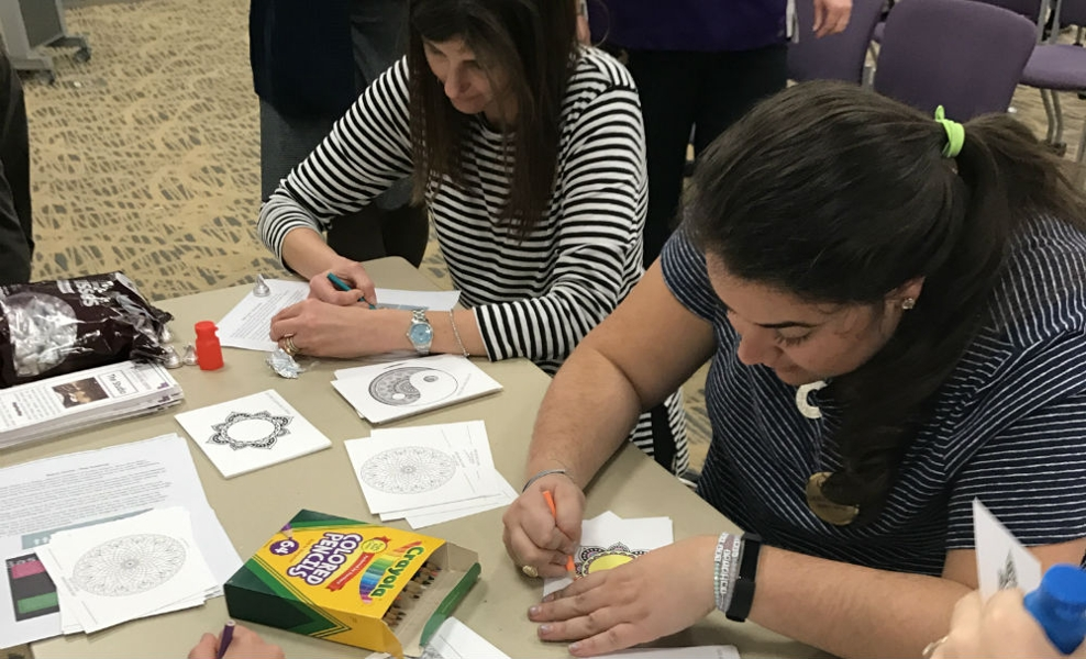individuals coloring as a way to de-stress