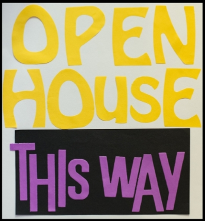 Photograph of a paper sign that says Open House This Way.