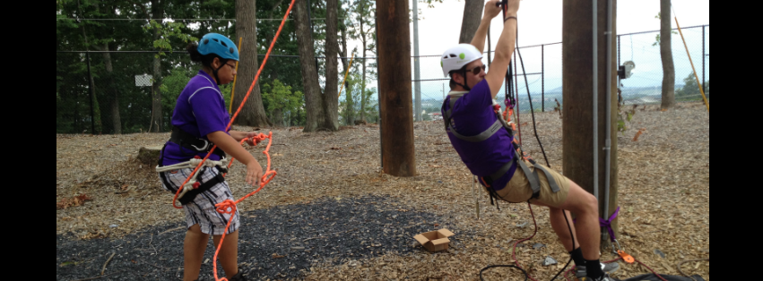 Image: Matt Trybus tests out the accessibility features of the TEAM Challenge Course!