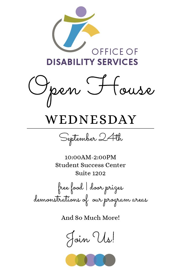 ODS Open House in SSC Suite 1202 on September 24 from 10 am to 2 pm