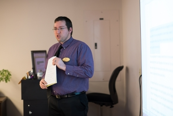 Rob Morgan from IT Training presenting how to create accessible material in Microsoft Office.