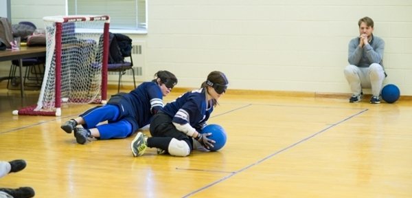 Several students from the Virginia School for the Deaf and Blind demonstrate how to play Goalball.
