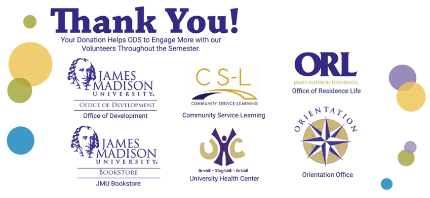 Thank you to the JMU Departments who donated prizes to the Notetaking Program: Office of Development, JMU Bookstore, Community Service Learning, Health Center, Residence Life, and Orientation!