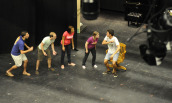 Student actors rehearsing a Children's Playshop show