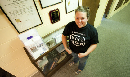 Jessica Harvey ('11) proudly displays her