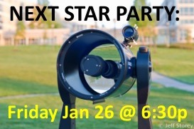 Public Star Party at JMU's Astronomy Park, Jan 26 at 6:30p