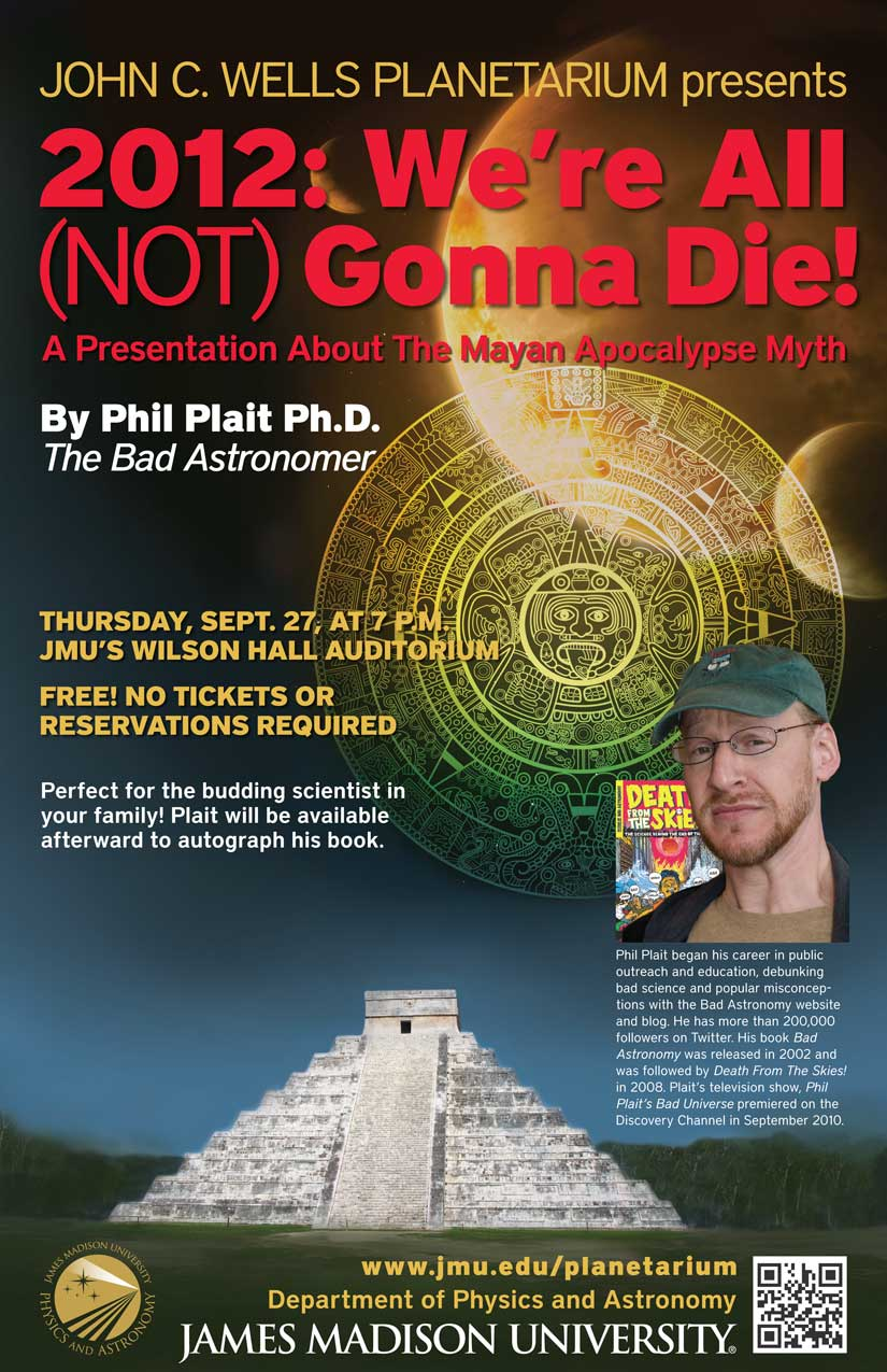 poster advertising guest speaking appearance by astronomer Phil Plait, who is pictured.