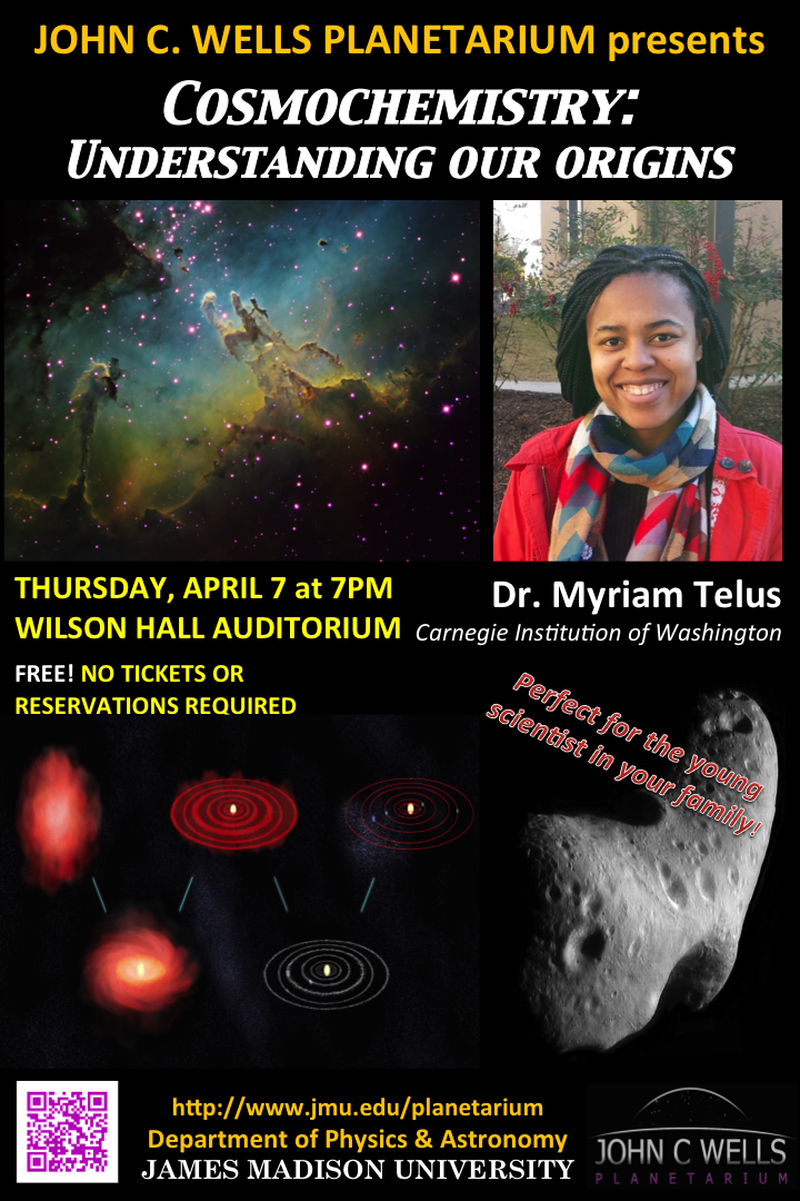 Cosmochemistry: Understanding our Origins, Thursday, 7p