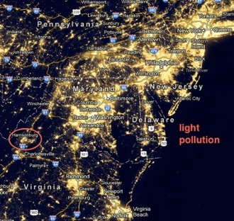 light pollution map across the U.S.