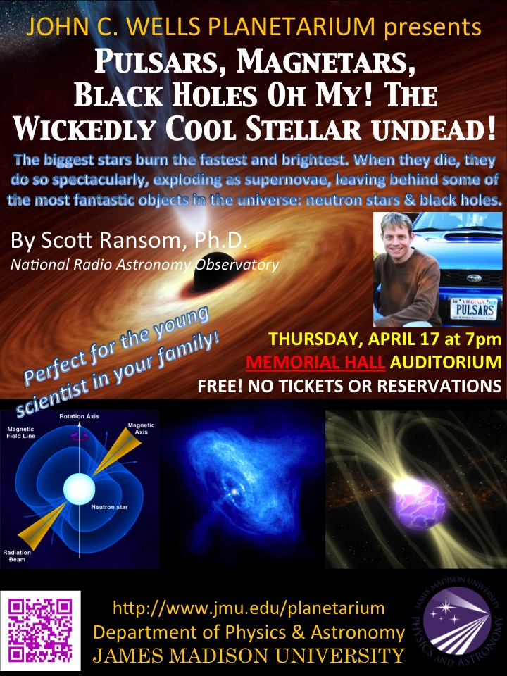 Scott Ransom Public Science Talk: Thursday, April 17 at 7pm, MEMORIAL HALL