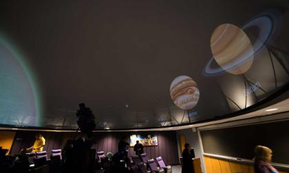 Images of the planets on diplay at the planetarium