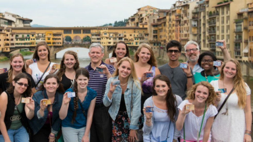 Semester in Florence students with JMU Pres. Jon Alger (photo by Mike Miriello)