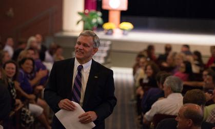 President Alger speaking to JMU faculty and staff at the Opening Staff Meeting before the start of the fall semester