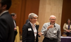 Anne Adam and Don Franke and attendees at the Madison Library of Congress Reception