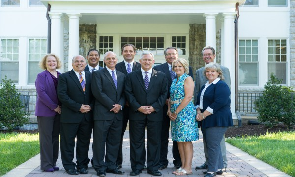 JMU's Senior Leadership in front of Alumnae