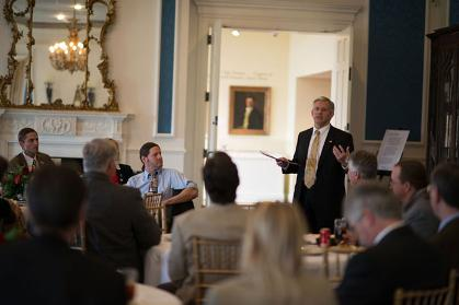 President Alger speaking to JMU faculty and staff at Montpelier, the home of James Madison